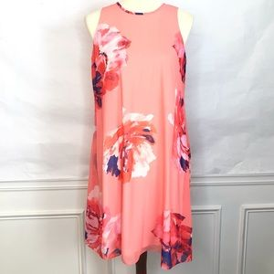 Calvin Klein Coral Pink Watercolor Floral Dress 8